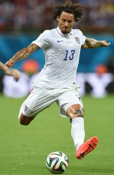 FIFA World Cup 2014 - USA 2 Portugal 2 (6,22.2014) US midfielder Jermaine Jones in action during a break in the first half in a Group G match between USA and Portugal at the Amazonia Arena in Manaus during the 2014 FIFA World Cup on June 22, 2014. FRANCISCO LEONG / AFP/Getty Images