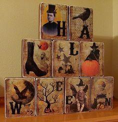 Halloween Vintage Blocks