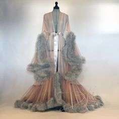 Boudoir by D'Lish — Fawn & Dove Grey Cassandra Dressing Gown Fancy Robes, Vintage Nightgown, Vintage Lingerie, Aesthetic Clothes, Aesthetic Outfit, Night Gown, Lounge Wear, Evening Dresses, Creations