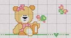 Ecco alcuni lavori a punto croce dedicati ai piccolissimi. Un tenero orsetto che porta tre deliziosi paperottoli, una tenera luna che si appisola nella notte o gli allegri e colorati cuoricini per la cameretta, il paralume e