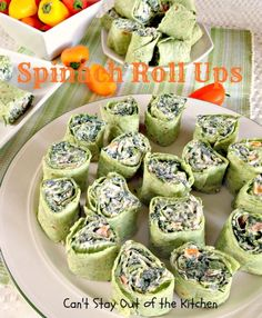 Spinach Roll Ups - spectacular #appetizer with #spinach and #ranchdressing. Great #SuperBowl or #tailgating fare - #wraps #tortillarollups via Can't Stay Out of the Kitchen