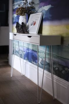 Home Tour – console table Ikea hack Kitchen On A Budget, Diy On A Budget, Ikea Console Table, Ikea Table, Sofa Tables, Ekby Ikea, Glasgow Apartment, Half Painted Walls, Decoration
