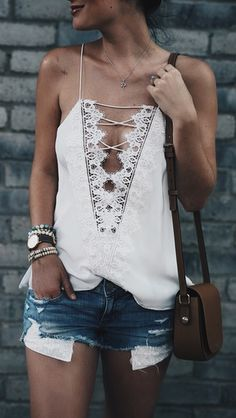 #summer #outfits  White Lace-up Cami + Ripped Denim Short