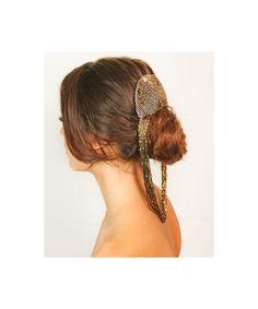 Gold beaded Headpiece Hair Piece Pony Chain Fascinator