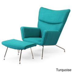 Kardiel Hans J. Wegner Style Danish Cashmere Wool Wingback Chair and Ottoman (Turquoise Boucle Danish Wool), Blue