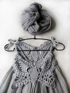Simple dress tutorial made using 2 scarves sewn together and dressed up using crocheted butterfly appliques.