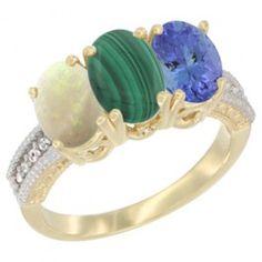 14K Yellow Gold Natural Opal, Malachite