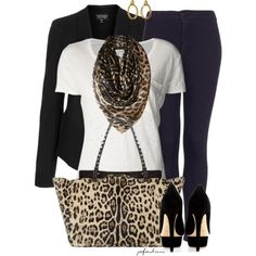Jeans + Blazers + Pumps + Leopard, created by jafashions on Polyvore
