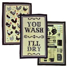 """Three cotton dish towels.  Product: 3 Dish towelsConstruction Material: CottonDimensions: 14"""" x 7"""" eachCleaning and Care: Machine washable"""