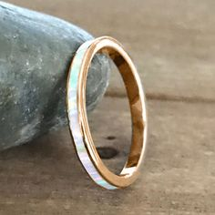 White Opal 3MM Rose Gold Sterling Silver Anniversary Wedding Band Size 5-12 #Unbranded #Band