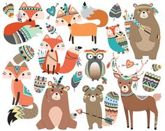Woodland Tribal animaux Clipart Vol. 2 - ensemble de 19 Vector, PNG et JPG fichiers - forêt mignons animaux clipart, renard, Hibou, Deer, rustique, Art de flèches