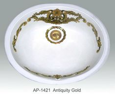Antiquity Design on Ovalyn Oval Sink - The Antiquity Design on Ovalyn Oval Sink is available with bright or burnished gold or platinum design. Hand-painted to order.