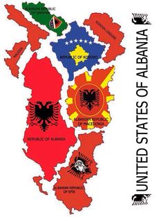 United States of Albania. United We Stand! This is the true Albania of Europe! Hoping that Big Albania becomes real in the future! I just was the best for my country! <3 :,)