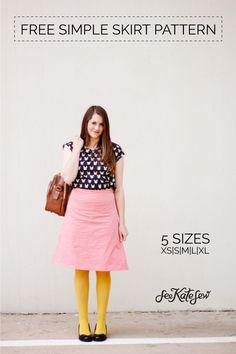 FREE aline skirt tutorial in 5 sizes!