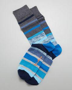 Space Dye Stripes Men\'s Socks, Gray/Blue by Arthur George by Robert Kardashian at Neiman Marcus.