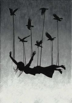 Tied to birds and flying