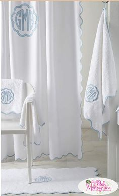 Matouk Le Scallop Monogrammed Shower Curtain Is Available In Bathroom Curtains