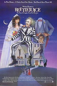 """BEETLEJUICE: Directed by Tim Burton. With Alec Baldwin, Geena Davis, Michael Keaton, Annie McEnroe. A couple of recently deceased ghosts contract the services of a """"bio-exorcist"""" in order to remove the obnoxious new owners of their house. Michael Keaton, 80s Movies, Great Movies, Movies To Watch, Childhood Movies, 80s Halloween Movies, Awesome Movies, Horror Movies, Comedy Movies"""