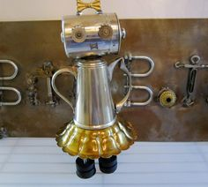 Abby Pot Bot  found object robot sculpture assemblage by ckudja, $125.00