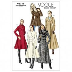 Vogue Ladies Easy Sewing Pattern 8346 Lined Fitted Double Breasted Coats | Sewing | Patterns | Minerva Crafts