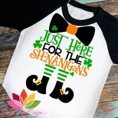 St. Patrick's Day SVG, DXF, Just here for the Shenanigans cut file #3-leaf-clover #4-leaf-clover #all-trouble