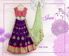 SC700: One of the best things a bride could get on her big day! Purple and pink lehenga with mint green dupatta.  To order please call/ WhatsApp on 9949944178 or mail us @issadesignerstudio@gmail.com 15 June 2016