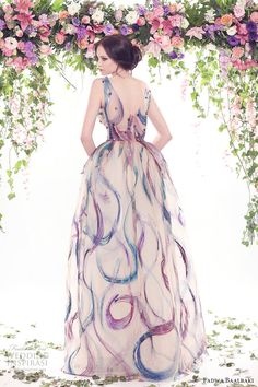 fadwa baalbaki spring 2016 couture sleeveless v neck multi color ball gown dress bv