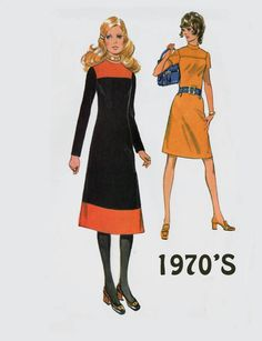 Vintage 1970s Mondrian Colorblock A Line Dress Sewing Pattern McCalls 2710 70s Retro Pattern Size 16 Bust 38 UNCUT by sandritocat on Etsy