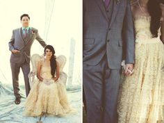 Arizona DIY Backyard Wedding: Leanne + Nathan...I love her dress and the colors in his suit...<3