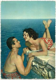 So romantically beautiful! #1950s #couple #beach #summer #vintage