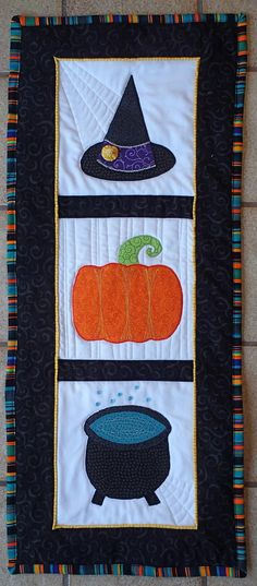 Witchy Wall Quilt - DIY wallhangings are all the rage for Halloween because they demonstrate Halloween spirit in a subtle way. This free quilted wallhanging tutorial will be perfect for you because it uses all of the iconic Halloween shapes. Ask your little grandkids which shape is their favorite!