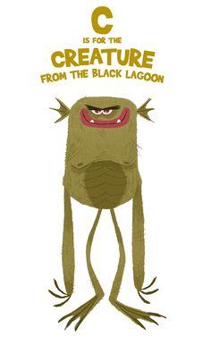 C is for the Creature From the Black Lagoon + Illustration   Nikolas Ilic
