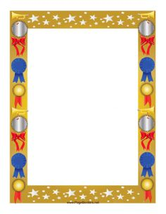 This colorful award border is decorated with stars and features several different awards, from a silver seal to a big red bow to a blue ribbon and a gold seal, with bugles to blow a fanfare for the lucky recipient. Free to download and print.