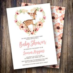 Deer Baby Shower Invitation, Boho Baby Shower, Girl Baby Shower Invite, Watercolor Floral Baby Shower, Woodland, Fawn Shower in Pink, Coral - Spotted Gum Design - Etsy