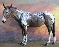 Resin:  Mulinette  Traditional Mule Jenny sculpted by Brigitte Eberl  http://www.atelier-boetzel-eberl.de  Color:  Appaloosa  Painter:  Sherry Clayton