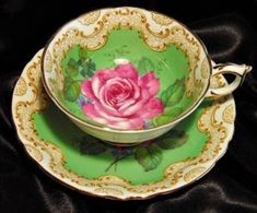 Paragon Cabinet Tea Cup & Saucer ~ Grand Pink Rose on Key Lime Green by yvette