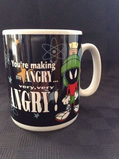 1995 Warner Brothers Your Making Me Angry Marvin The Martian Coffee Cup Mug #WarnerBrothers