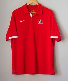 Nike-Ball-State-Football-Polo-Shirt-Dri-Fit-Size-Large-Embroidered-Logo