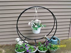 PLANT STAND MADE FROM A WOOD HOOP.