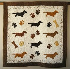 Dachshund quilt throw 58 x 58 inches by doodlebugquilts on Etsy, $160.00