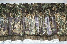 "Knightsbridge Lake Brown Green Toile Valance 17"" X 81"" / 70""  Dra Wt Curtain #Brown #Floral #Green"