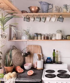 Homey kitchen with a DIY rustic feel. Open shelves, jars, plants, small kitchen Homey kitchen with a DIY rustic feel. Kitchen Decor, Interior Design Kitchen, Rustic House, Homey Kitchen, Small Kitchen, Open Shelving, Tiny Kitchen Design, Tiny Kitchen, Decorating Small Spaces
