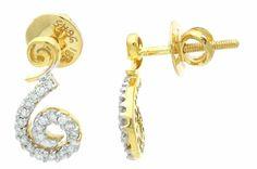 18K Yellow Gold Fancy Cluster Small Earrings 0 26 Ct Round Diamonds G vs 15 Mm | eBay