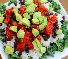 Rice, beans, salsa, avo, lettuce