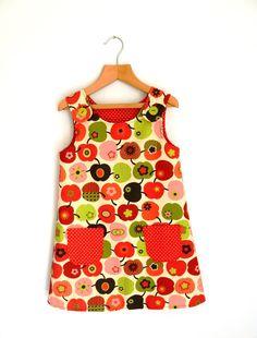 Girls Apple print Dress Reversible pinafore by frecklesdaisiesltd