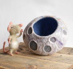 Small Felted Moon Bowl felt pod by BuzzyFeltz on Etsy