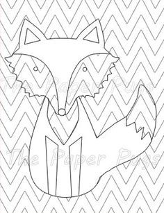 Chevron Fox coloring page instant download kids by ThePaperPugs