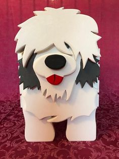 Old English Sheepdog Toy Box Plant Stand OES Grooming Crate image 5 Puppy Birthday Parties, Christmas Yard Art, Wood Dog, Old English Sheepdog, Wooden Animals, Wood Patterns, Wooden Crafts, Toy Boxes, Craft Fairs