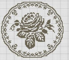 Love this pattern Cross Stitch Rose, Cross Stitch Borders, Cross Stitch Flowers, Cross Stitch Charts, Cross Stitching, Cross Stitch Embroidery, Cross Stitch Patterns, Filet Crochet Charts, Crochet Doily Patterns