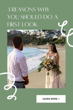Click Pin to see the 3 reasons why you should consider doing a First Look before your wedding ceremony. What do you think about first looks? Do you think the couple should wait to see each other? Beach Wedding Photos, Beach Wedding Hair, Wedding Tips, Wedding Ceremony, Wedding Gowns, Wedding Flowers, Wedding Planning Checklist, Real Couples, Real Weddings